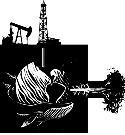 fracking: Woodcut style image the earth with images of industry, nature and wildlife.