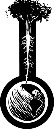 norse: Woodcut style image of a tree with roots like nerve endings growing out of the globe of the earth. Illustration