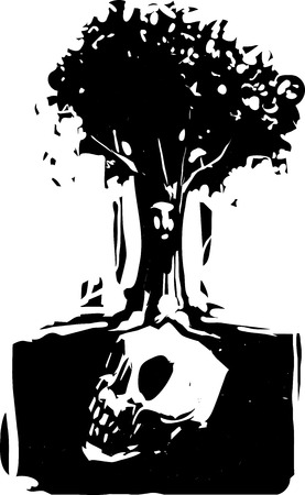 Woodcut style image of a tree with a face where roots grow around a buried giant skull Çizim