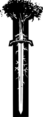 Woodcut style image of a tree with roots like nerve endings growing out of the blade of a sword. Ilustração