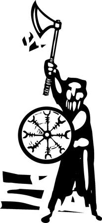 방패와 도끼 바이킹 전사의 목 판화 스타일 이미지입니다. 일러스트