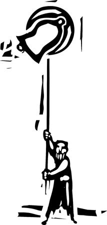 Woodcut style image of man ringing a traditional church bell.