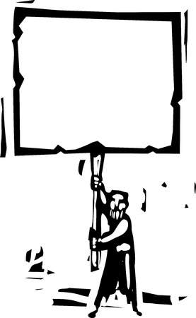 man holding a blank sign: Woodcut style image of a bearded man holding a blank sign.