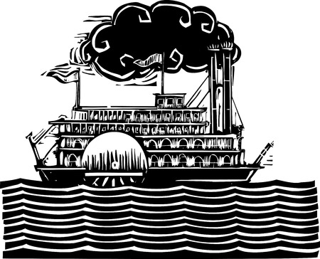 Woodcut style side wheel Mississippi river steamboat on stylized waves. Иллюстрация