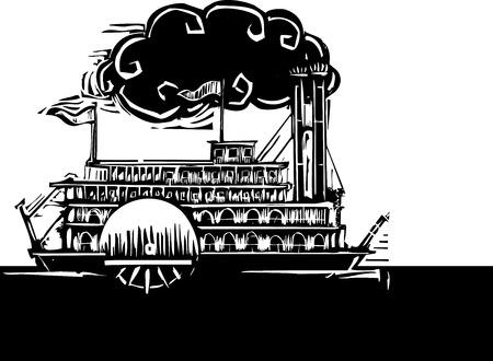 Grabado en madera del lado del estilo rueda río Mississippi barco de vapor en el agua oscura. Foto de archivo - 31464816