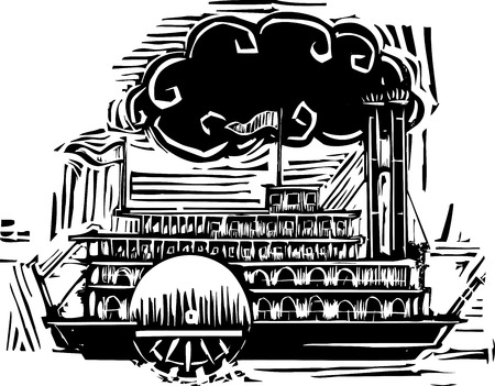 twain: Woodcut style side wheel Mississippi river steamboat.