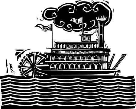 twain: Woodcut style side wheel Mississippi river steamboat on stylized waves. Illustration