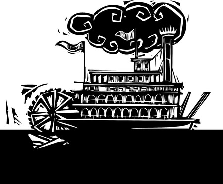 twain: Woodcut style side wheel Mississippi river steamboat on dark water.