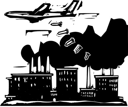 expressionist: Woodcut style expressionist image of a bomber aircraft dropping bombs on a factory