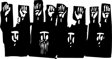 riot: Woodcut style expressionist image of a group of people with their hands raised in surrender. Illustration