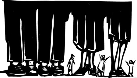 wandering: Woodcut style expressionist image of small people wandering among giant legs.