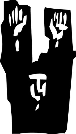 Woodcut style expressionist image of a man raising his hands in surrender. Ilustração