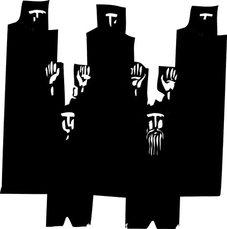 Woodcut style expressionist image of a men raising their hands in surrender watched by people in dark robes.