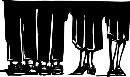 expressionist: Woodcut style expressionist image of the legs of men and woman standing around.