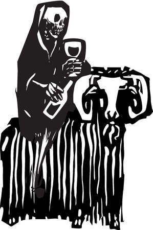 debauchery: Woodcut style expressionist image of death drinking wine and riding on a goat.
