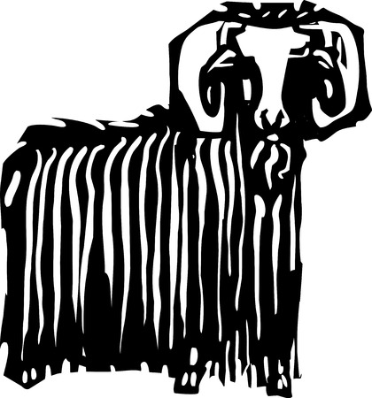 ibex ram: Woodcut style expressionist image of a ram or ibex