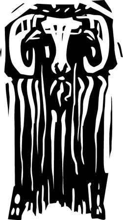 앞에서 램 또는 아이 벡스의 목 판화 스타일 표현주의 이미지입니다. 일러스트