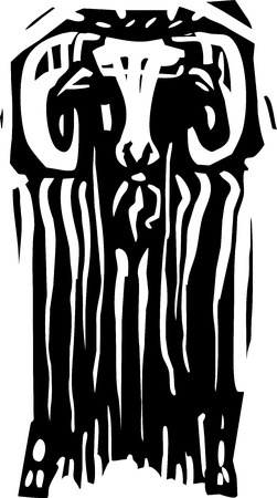 expressionist: Woodcut style expressionist image of a ram or ibex from the front. Illustration