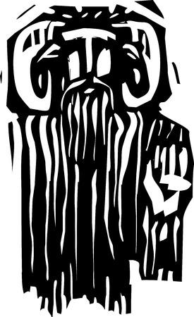 木版画スタイル表現主義イメージ神話牧神またはギリシャ語神鍋