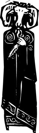 ラムの頭部のマスクで悪魔的な司祭の木版画スタイルの表現主義のイメージ。