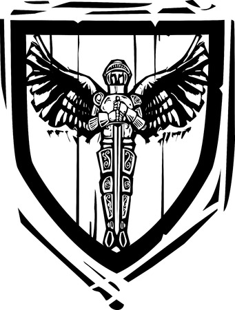 Woodcut style Heraldic Shield with a Winged Knight Illustration