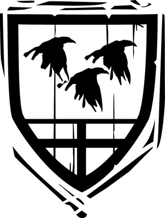Woodcut style Heraldic Shield with Ravens