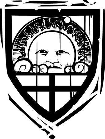 christ the king: Woodcut style Heraldic Shield with a Sun Face Illustration