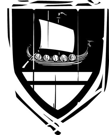Woodcut style Heraldic Shield with a Viking Longship Illustration