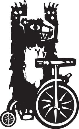 driewieler: Houtsnede stijl afbeelding van een circus beer op een driewieler.