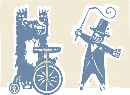Woodcut style image of a circus bear on a tricycle with a ringmaster. Illustration