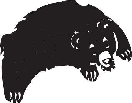 pounce: Woodcut style image of a bear leaping