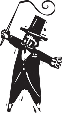 whip: Woodcut style image of a circus ringmaster with a whip