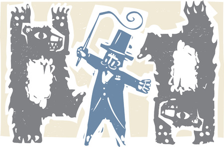 Woodcut style image of dancing circus bears with a ringmaster 向量圖像