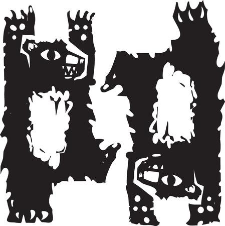 Woodcut style image of two dancing bears.
