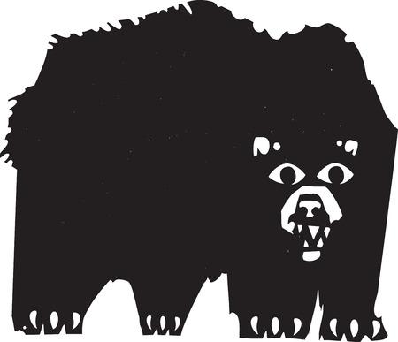 growling: Woodcut style image of a a growling black bear.