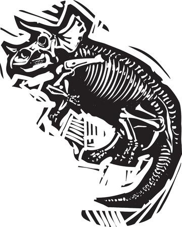 Houtsnede stijl afbeelding van een fossiel van een Triceratops dinosaurus skelet
