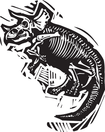 Woodcut style image of a fossil of a Triceratops dinosaur skeleton Illustration