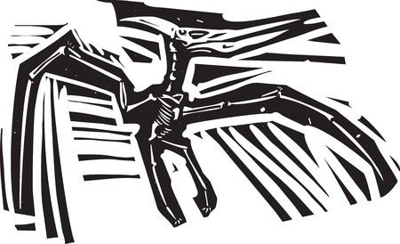 saurian: Woodcut style image of a fossil of a pterodactyl dinosaur