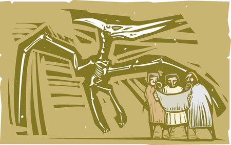 pterodactyl: Woodcut style image of Paleontologists studying a fossil of a pterodactyl dinosaur