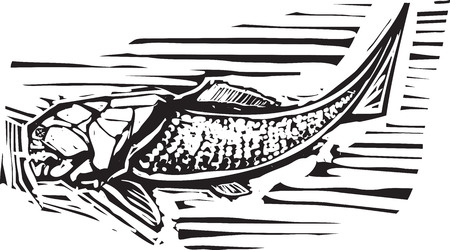 Woodcut style image of a Dunkleosteus an armored ancient fossil fish Vector