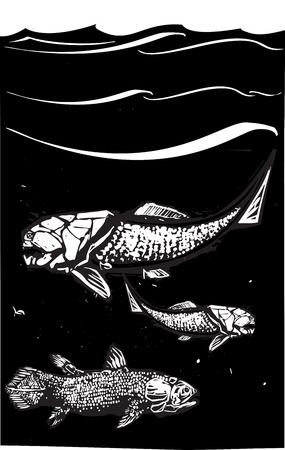 Woodcut style image of a Dunkleosteus an armored ancient fossil fish and Coelacanth swimming in the ocean Vector