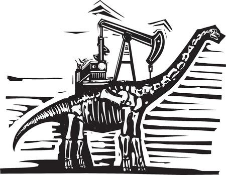 Houtsnede stijl afbeelding van een fossiel van een brontosaurus apatosaurus dinosaurus met een oliebron pomp Jack op zijn rug.