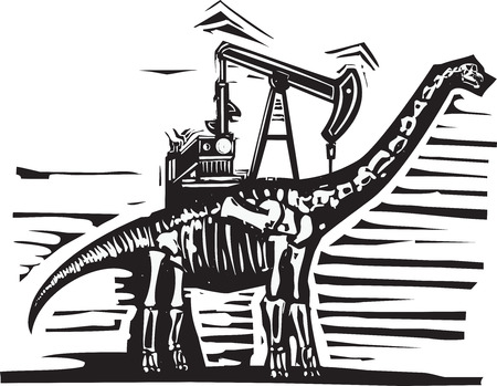 brontosaurus: Woodcut style image of a fossil of a brontosaurus apatosaurus dinosaur with an oil well Pump Jack on its back.