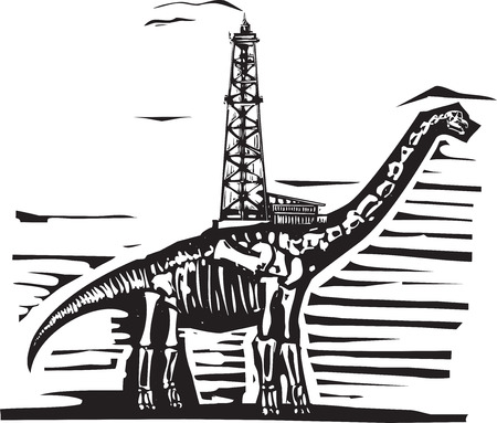 oil well: Woodcut style image of a fossil of a brontosaurus apatosaurus dinosaur with an oil well on its back.
