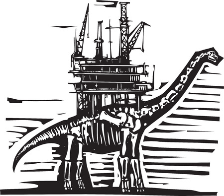 shale: Woodcut style image of a fossil of a brontosaurus apatosaurus dinosaur with an oil rig on its back.