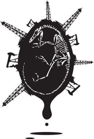 shale: Woodcut style image of a fossil of a dinosaur skeleton with and oil rigs.