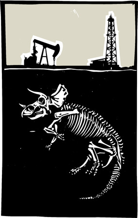 shale: Woodcut style image of a fossil of a Triceratops dinosaur with an oil rig and pump jack.