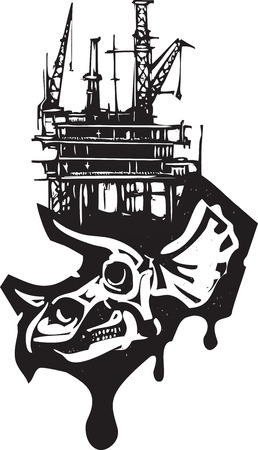 triceratops: Woodcut style image of a fossil of a Triceratops dinosaur skull with an oil rig. Illustration