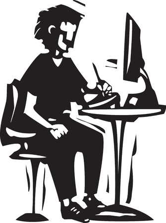 Woodcut style image of a boy sitting at a computer with a drawing tablet.
