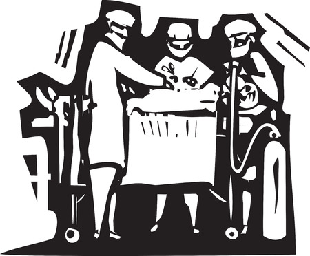 expressionist: Woodcut style expressionist image of doctors performing surgery on a patient